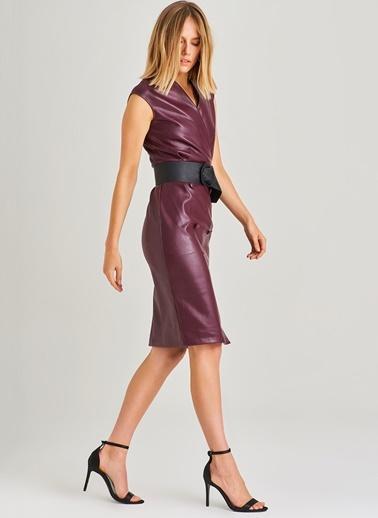 People By Fabrika People By Fabrika - Önü Düğme Detaylı Deri Elbise